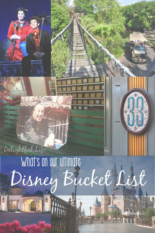 What's on the ULTIMATE Disney Bucket List? Well here's ours! Staying at every Walt Disney World, Disneyland, and Disney Vacation Club property is just the start. We've also got Adventures by Disney, Disney parks worldwide, and even Disney on Broadway. What would you add to your list? #BucketList #Disney #DisneyTrip #DisneyBucketList