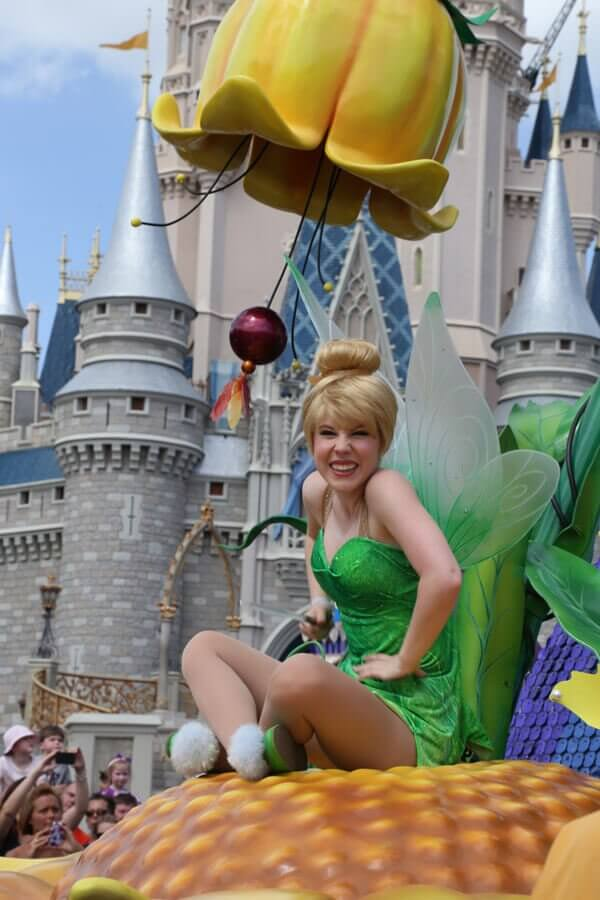 Tinker Bell in the Festival of Fantasy Parade at Walt Disney World's Magic Kingdom; a good walk-around lens may be all you need for great photos on a Disney vacation