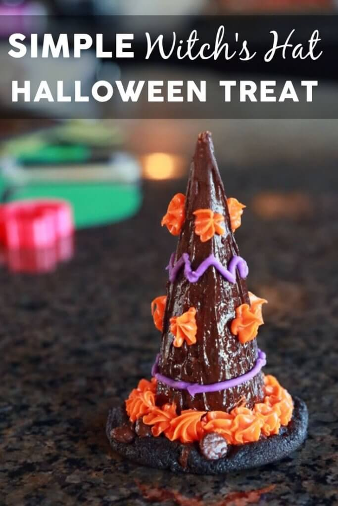 These super cute witch hat treats are perfect for Halloween! With just a few ingredients and simple instructions, they are fun for kids of all ages and are great for classroom parties or other not-so-scary Halloween celebrations. The simple ice cream cone + cookie treats can also be used for clown hats, volcanoes, construction cones, and so much more!