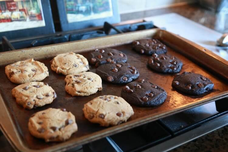 chocolate chip and chocolate cookies