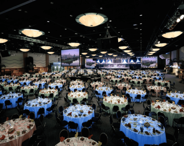 beautiful indoor event set up at the Walt Disney World Swan and Dolphin