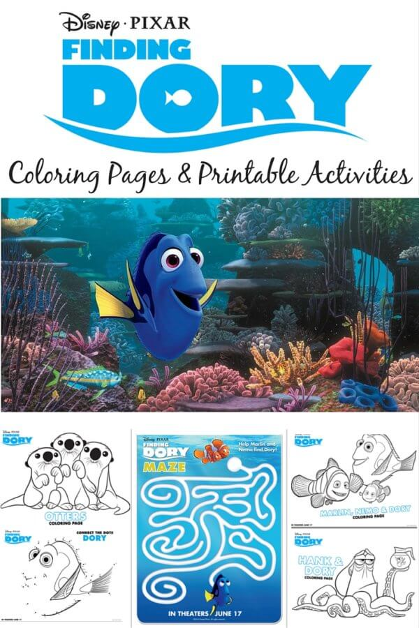 finding dory coloring pages printable activities
