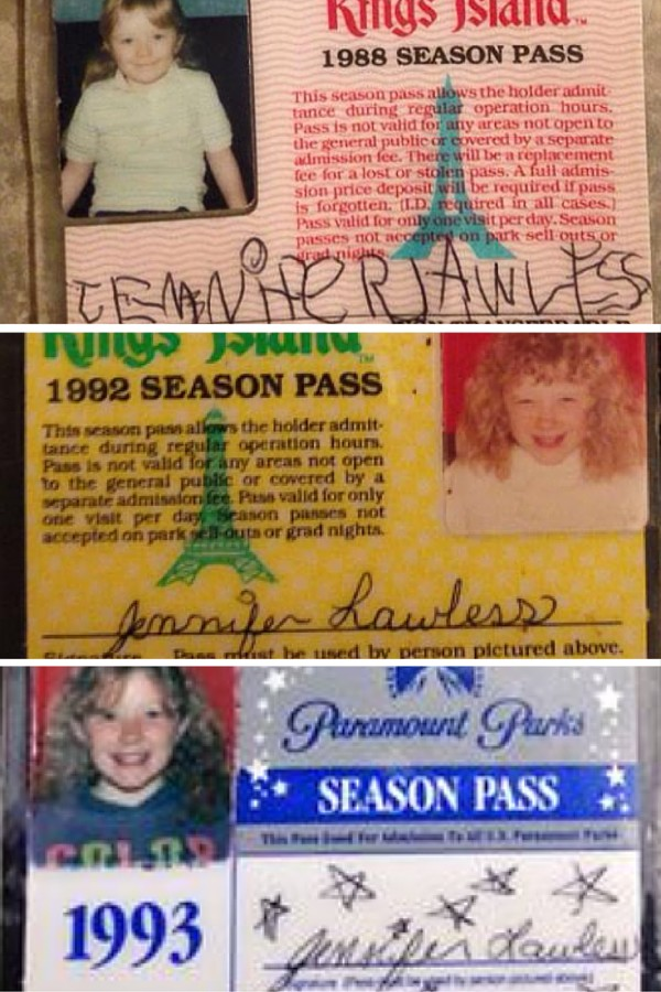 Kings Island passes from 1986, 1992, and 1993