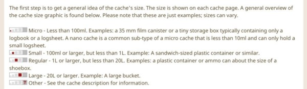 Geocaching container sizes