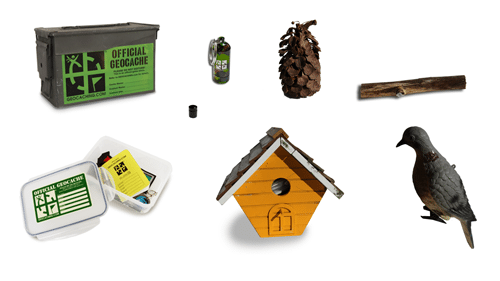 Geocaching container examples