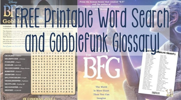 FREE Printable Word Search and Gobblefunk Glossary!