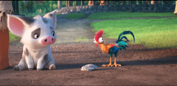 Moana animals - rooster Hei Hei and Pua the pig