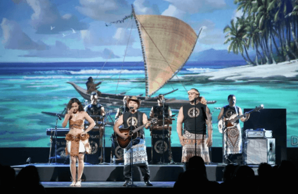 Opetaia Foa'i performs at the Disney D23 Expo in Anaheim