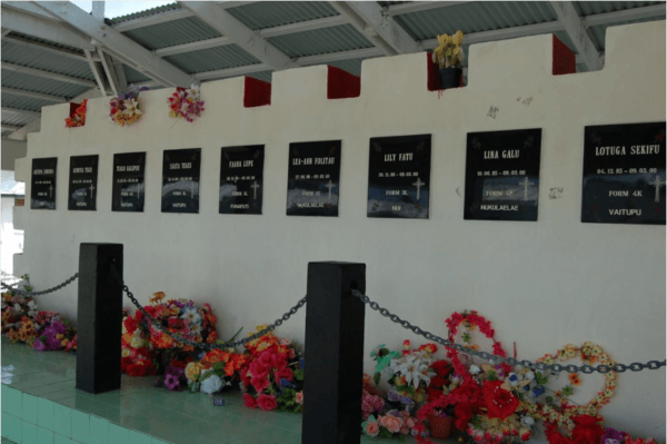 Photo: Malcom Ponton | A memorial stands at Motufoua Secondary School in honor of the victims of the 2000 dormitory fire