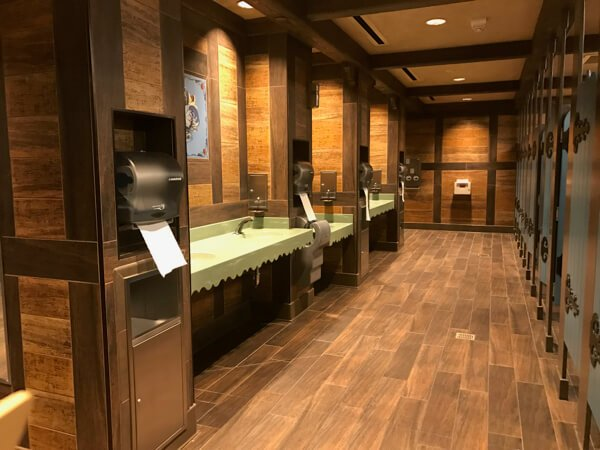 Frozen-themed restrooms at Walt Disney World Epcot's Norway Pavilion. Bathroom breaks on your own time are easier on a solo trip to Disney World.