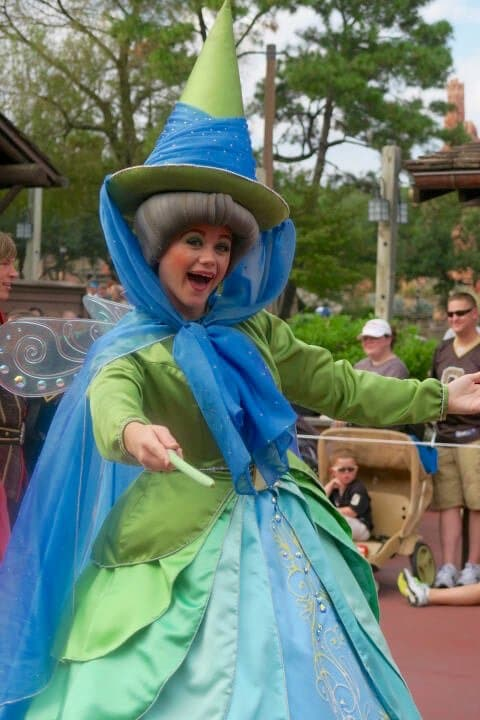 A picture of a good fairy in Disney's Festival of Fantasy parade was easy to capture with a great seat on a solo trip to Disney World.