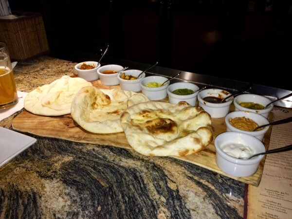 Naan bread service with dips at Sanaa in Disney's Animal Kingdom Lodge