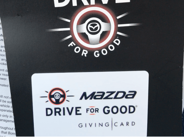 the mazda drive for good program provides a $25 charitable gift card to test drivers.