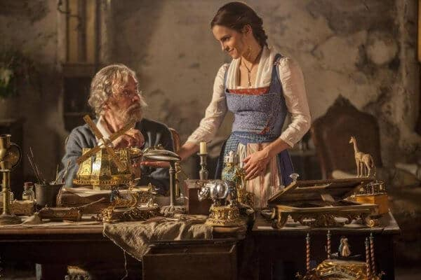 maurice and belle in the 2017 live-action Beauty and the Beast