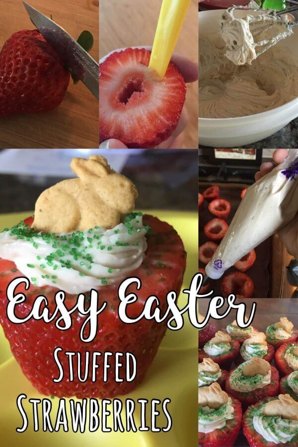 Easy Easter treats adorable stuffed / cheesecake filled strawberries