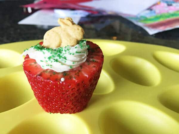 Easter treat cheesecake stuffed strawberry with graham bunny