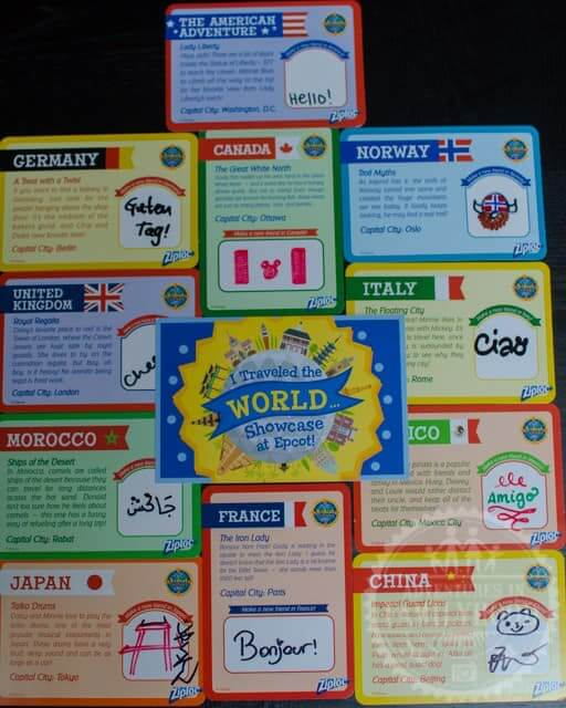 Cards with fun facts from the Epcot World Showcase KidCot stations
