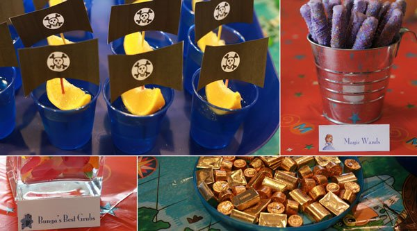 pirate boats, chocolate covered pretzel magic wands, gold treasure (chocolate), and gummy worms as Bunga's grub are great food items for a Disney Kids party or playdate