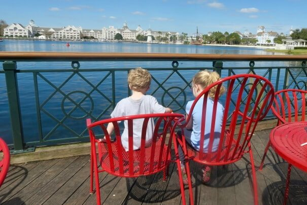 kids sitting on disney's boardwalk on a non-park day at WDW