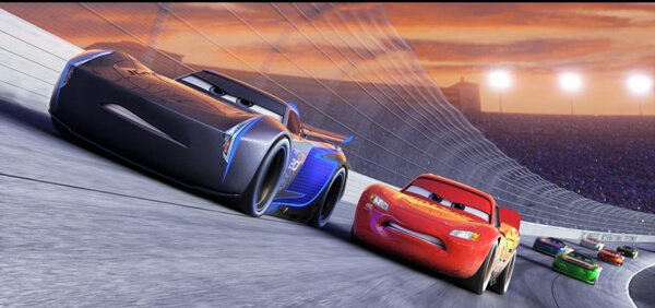 Lightning McQueen tries to catch up to Jackson Storm, a next gen racer in Cars 3