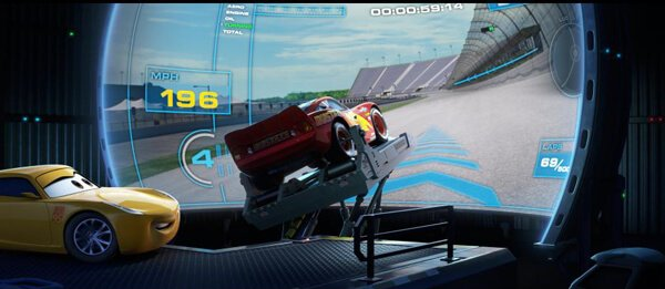 Lightning McQueen and Cruz train on new gen technology like treadmills and simulators