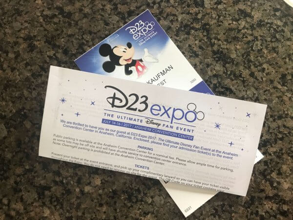 2017 D23 Expo tickets and instructions