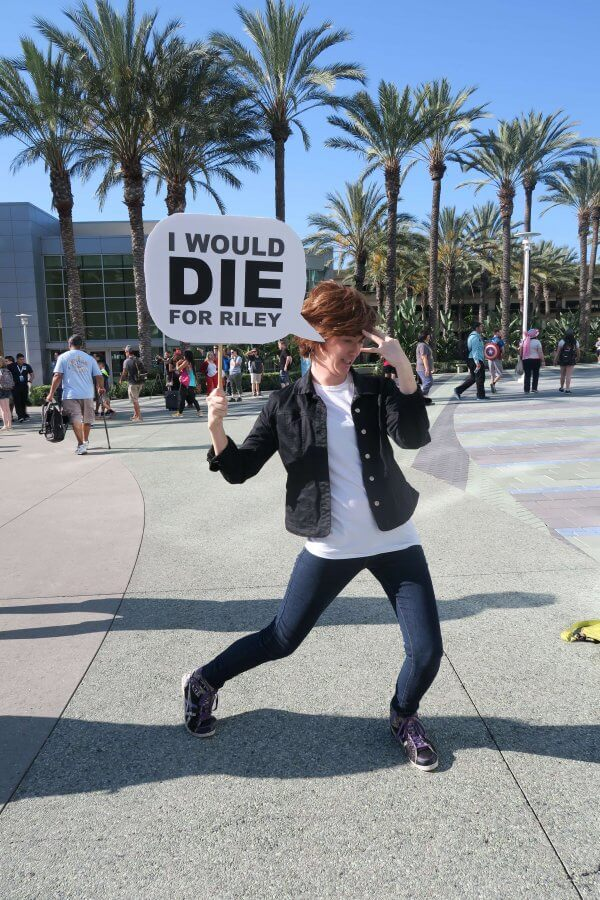 Guest at the 2015 Disney D23 Expo dresses up as a character from Pixar's Inside Out