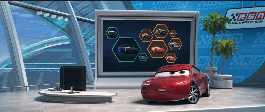 Natalie Certain and Chick Hicks are sports casters on the Racing News Network in Pixar's Cars 3