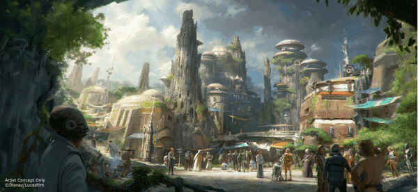 Artist rendering of Disneyland and Walt Disney World's new star wars themed land