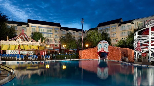 the keister coaster and luna park pool at Disney's Boardwalk Inn and Villas