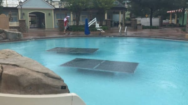 ping pong tables in the pool at Saratoga Springs are just one way Walt Disney World prepares for a hurricane