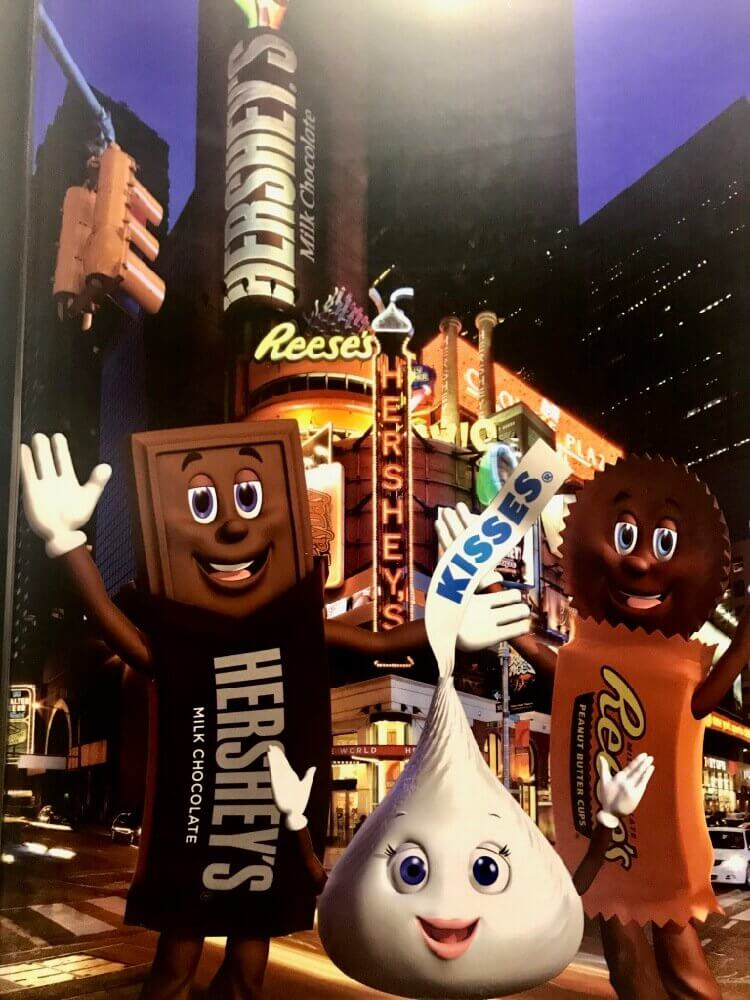 Chocolate bar, kiss, and peanut butter cup mascots from Hershey, Pennsylvania