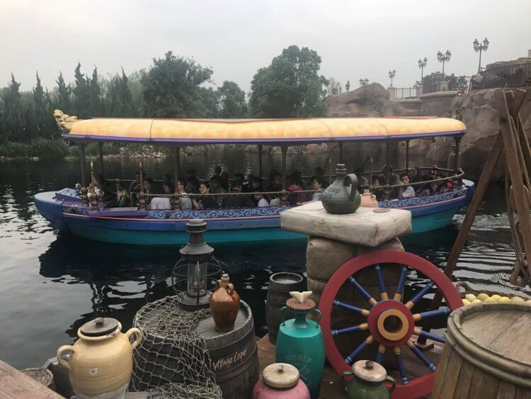 A boat similar to the Jungle Cruise boats, as part of the Shanghai Disneyland Ride Voyage to the Crystal Grotto