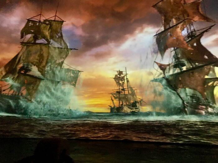 The scene from Shanghai Disneyland's Pirates of the Caribbean Battle for the Sunken Treasure attraction
