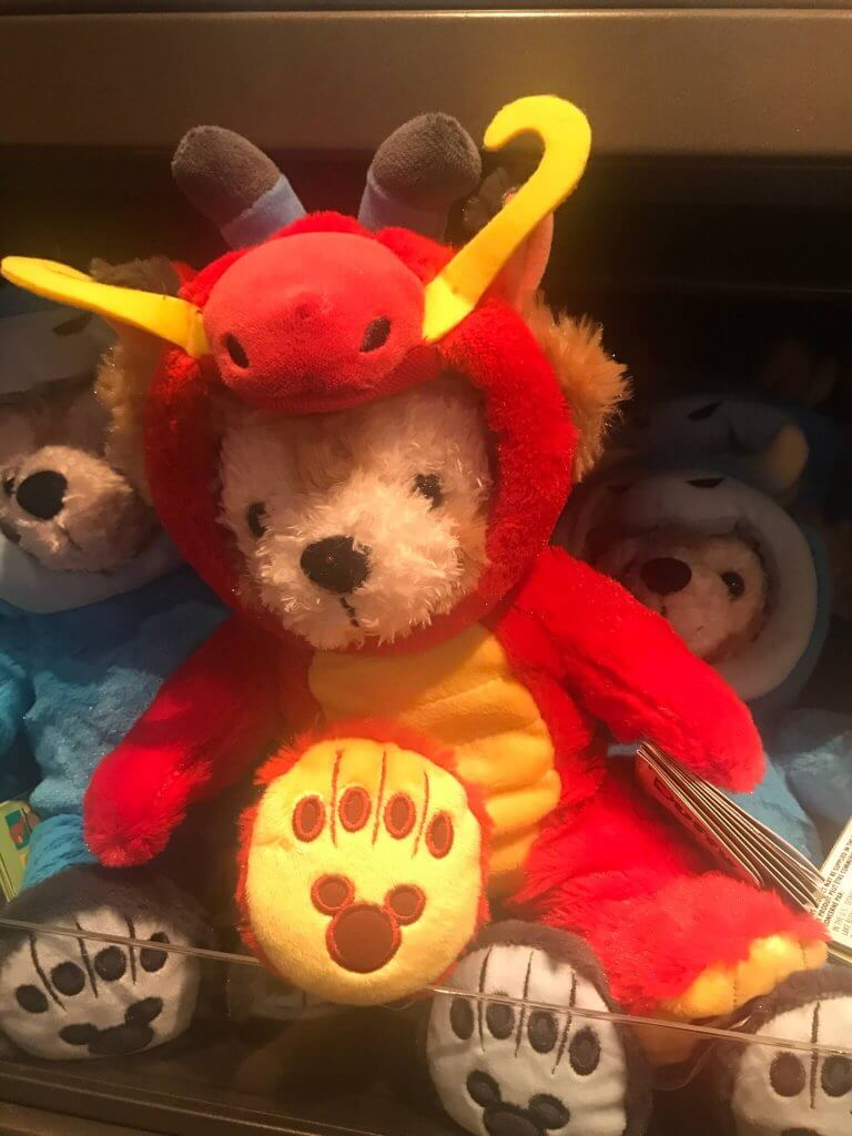 Duffy the Disney Bear dressed up as Mushu, in celebration of the Garden of Twelve Friends at Shanghai Disneyland