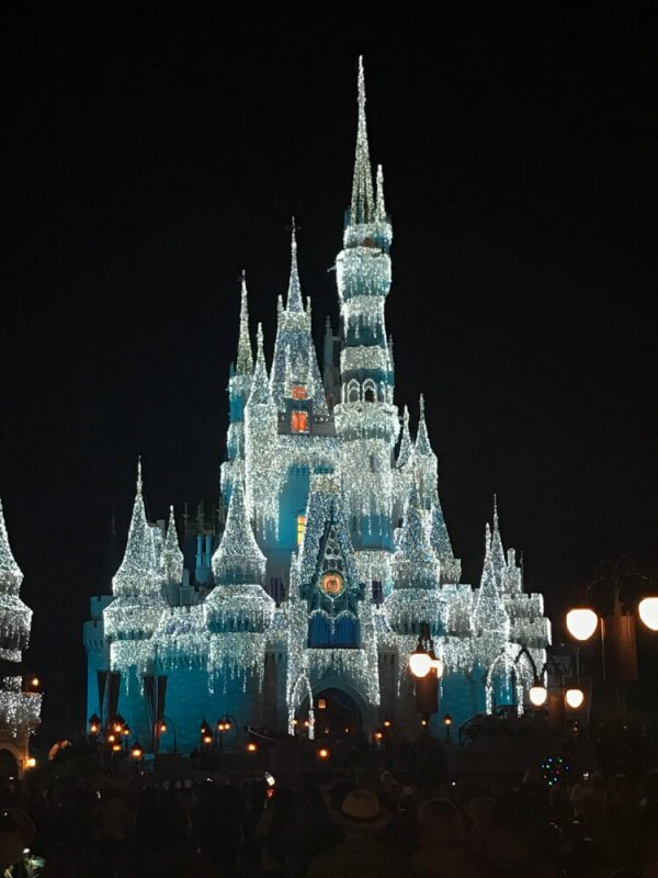 "Walt Disney World's Cinderella Castle teal, with icicle Christmas Lights ""Dream Lights"""