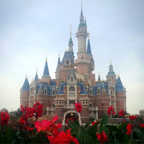 Enchanted Storybook Castle at Shanghai Disneyland park, with red flowers in the foreground