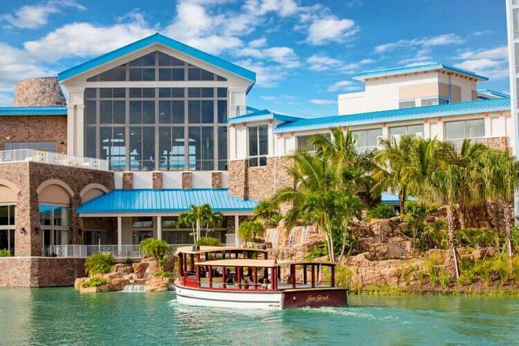 The Water Taxi boat arrives at Loews Sapphire Resort in Orlando to take guests to Universal theme parks