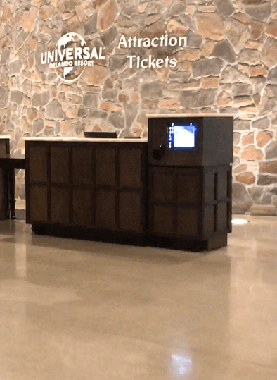 Attraction Tickets and Information Desk for Universal Orlando Resort, inside the Sapphire Falls Resort lobby
