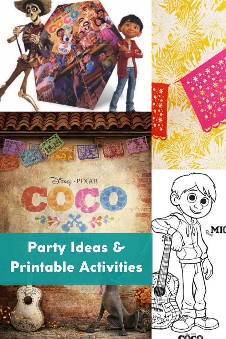 One-stop for party planning ideas, recipes, decor, games, and printable activities for a Pixar's Coco themed movie night or birthday party. Marigold crafts, tamale recipes, DIY or purchased decor, coloring pages, and more for Day of the Dead / Dia de los Muertos parties.