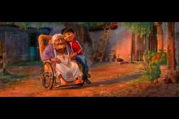 The protagonist of Pixar's Coco, Miguel Rivera, talks with his great grandmother Coco