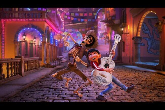 A skeleton named Hector dances in the streets of the land of the dead with Miguel, in Pixar's Coco