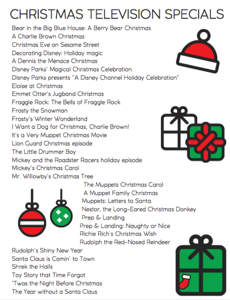 A Checklist of Christmas and Holiday television specials to watch each year