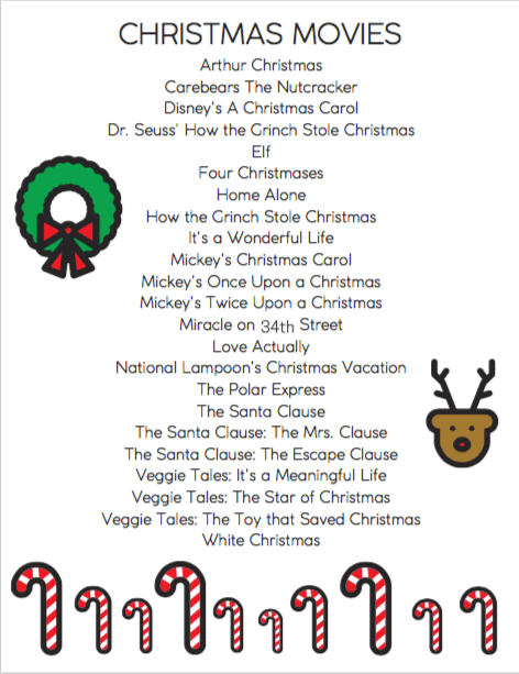 Checklist of Christmas Movies to Watch Each Year