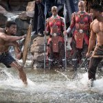 King T'Challa and a challenger participate in an african tribal ritual in Black Panther