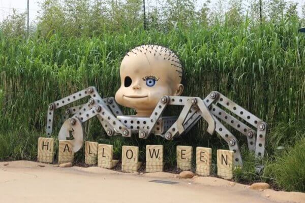 "Spider doll from Toy Story movies with scrabble tiles spelling ""halloween"", from Hong Kong Disneyland's Toy Story Land"