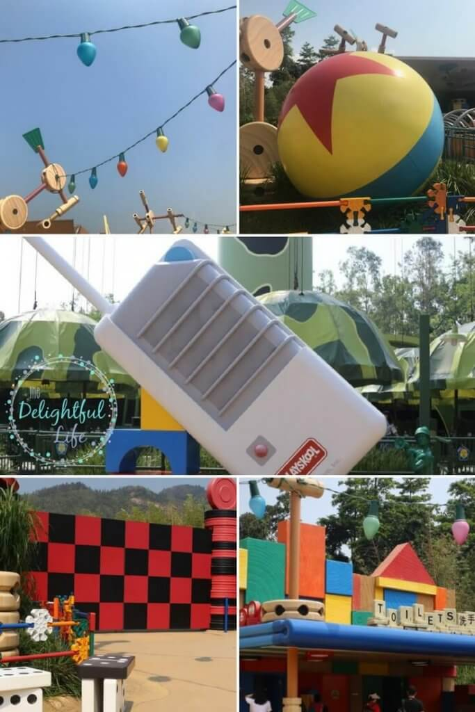 design elements from Toy Story Land in Hong Kong Disneyland, including Pixar Ball, Tinker Toys, Green Army Men Walkie Talkie, Checkers, and more