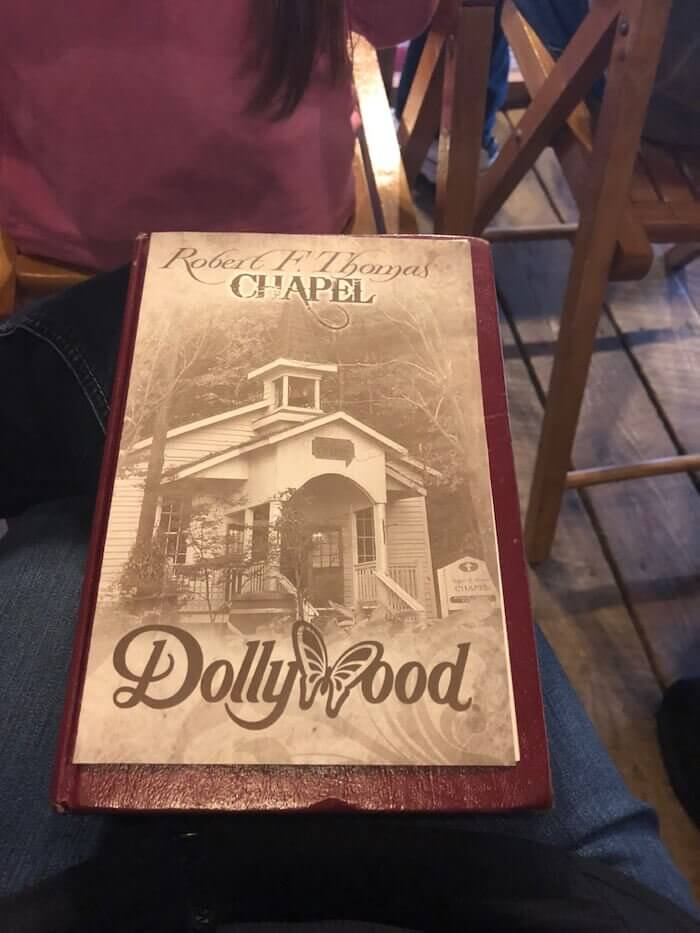 the cover of a church bulletin inside Dollywood Amusement Park in Pigeon Forge, Tennessee