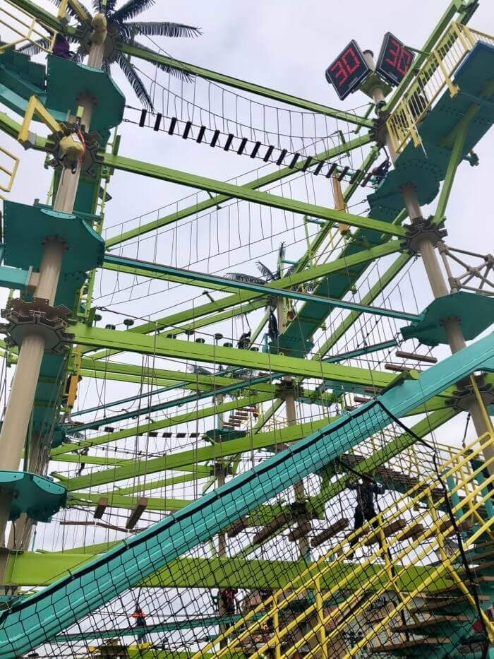 green and teal ropes course at the Island in Pigeon Forge, TN