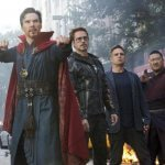 Dr Stephen Strange, Iron Man (Tony Stark), Bruce Banner (the Hulk), and Wong (sorcerer from Dr. Strange) come together - along with dozens of other heroes from different franchises - in Avengers: Infinity War